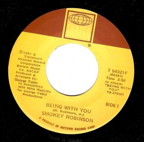 SMOKEY ROBINSON Being With You Vinyl Record 7 Inch US Motown 1981